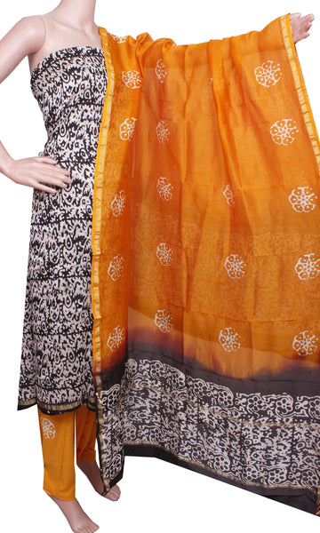 Chanderi silk with Batik print (Bottom & Tops) + Chanderi Dhuppatta - Salwar Set (3 piece material) - 52131A, Chudi - Swadeshi Boutique