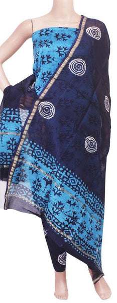 Chanderi silk with Batik print Salwar Set (3 Piece material - Bottom , Tops & Dhuppatta) - 52138A, Chudi - Swadeshi Boutique