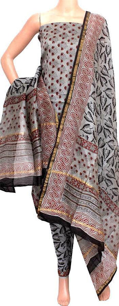 Chanderi silk with Batik print Salwar Set (3 Piece material - Bottom , Tops & Dhuppatta) - 52145A, Chudi - Swadeshi Boutique