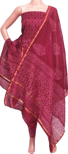 Chanderi silk with Batik print Salwar Set (3 Piece material - Bottom , Tops & Dhuppatta) - 52152A, Chudi - Swadeshi Boutique