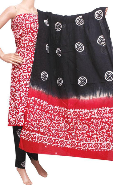 Cotton with Batik print + Dhuppatta (Cotton with Batik print) - Salwar material  (3 piece set) - 52168A *Sale 50% Off*, Chudi - Swadeshi Boutique
