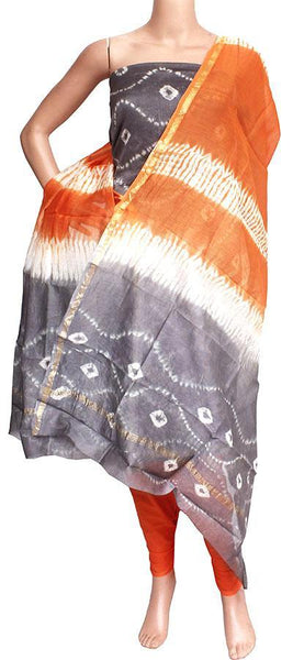Chanderi silk with Batik print Salwar Set (3 Piece material - Bottom , Tops & Dhuppatta) - 52199A, Chudi - Swadeshi Boutique