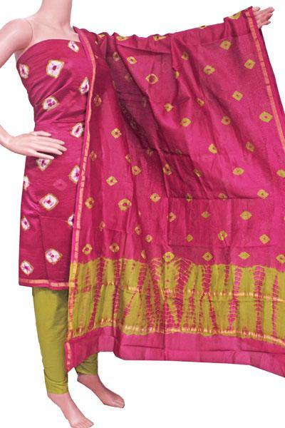 Chanderi silk with Batik print Salwar Set (3 Piece material - Bottom , Tops & Dhuppatta) - 52229A, Chudi - Swadeshi Boutique