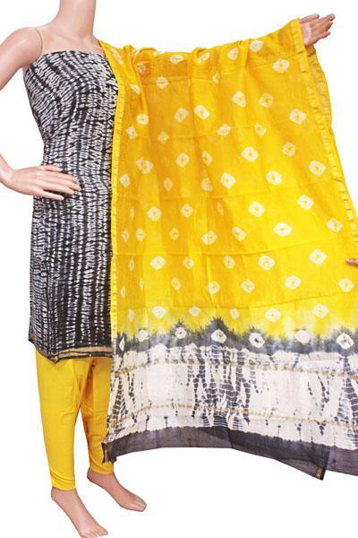 Chanderi silk with Batik print Salwar Set (3 Piece material - Bottom , Tops & Dhuppatta) - 52232A, Chudi - Swadeshi Boutique