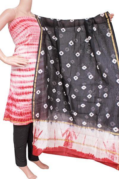 Chanderi silk with Batik print Salwar Set (3 Piece material - Bottom , Tops & Dhuppatta) - 52233A, Chudi - Swadeshi Boutique
