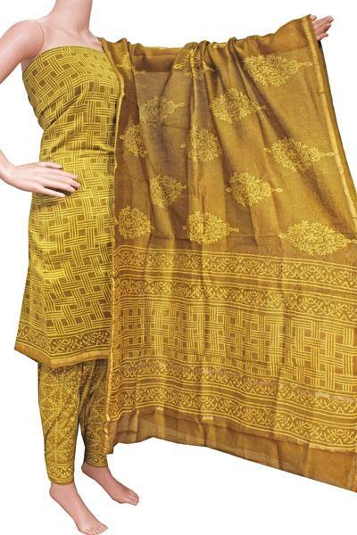 Chanderi silk with Batik print Salwar Set (3 Piece material - Bottom , Tops & Dhuppatta) - 52237A, Chudi - Swadeshi Boutique