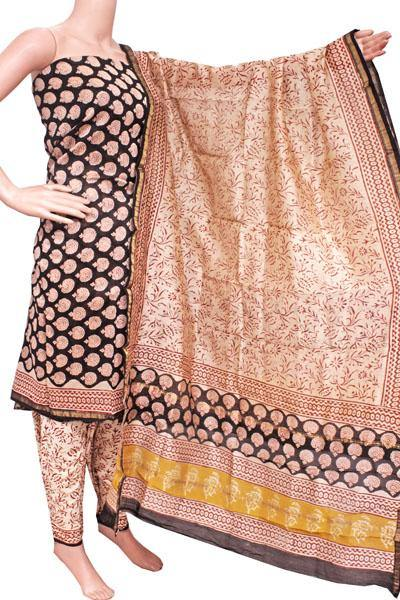 Chanderi silk with Batik print Salwar Set (3 Piece material - Bottom , Tops & Dhuppatta) - 52238A, Chudi - Swadeshi Boutique