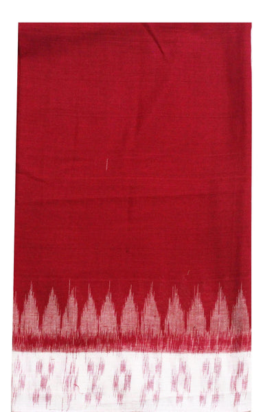 IKKAT Handloom Cotton Blouse material with a popular Temple border - Red & White (55001A), Blouse - Swadeshi Boutique