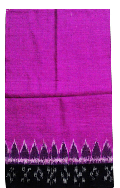IKAT Handloom Cotton Blouse material with a popular Temple border - Pink & Black (55002A)