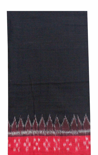 IKKat Handloom Cotton Blouse material (matches to most sarees) - Beautiful Black & Red (55003A)