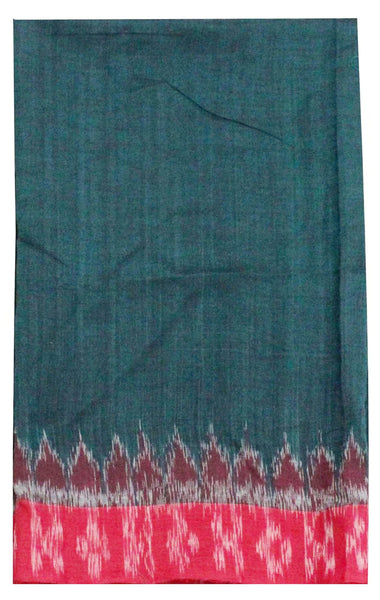 IKKAT Handloom Cotton Blouse material with a popular Temple border - Dark Green & Red (55008A), Blouse - Swadeshi Boutique