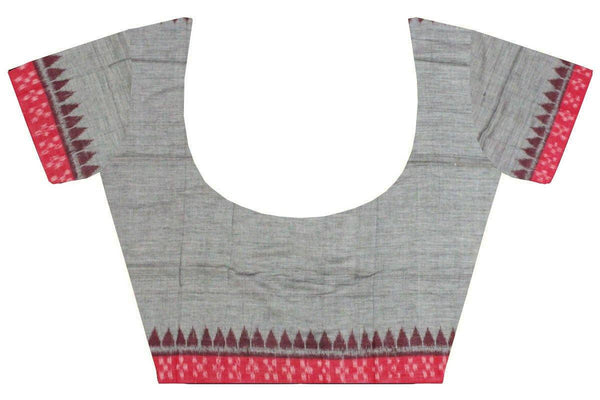 IKAT Blouse material - Handloom Cotton with a popular Temple border- Gray & Red (55009A), Blouse - Swadeshi Boutique