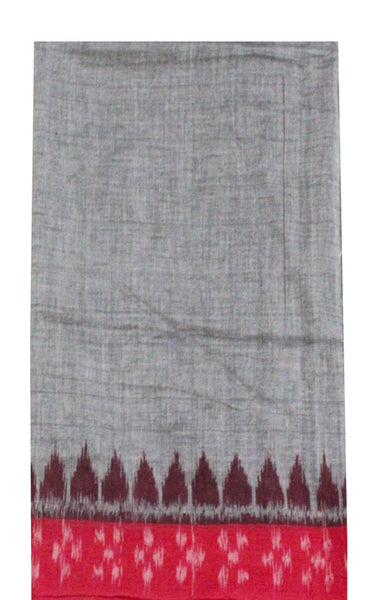 IKAT Handloom Cotton Blouse material with a popular Temple border- Gray & Red (55009A), Blouse - Swadeshi Boutique