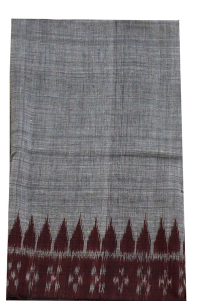 IKKAT Handloom Cotton Blouse material with a popular Temple border  - Gray & Maroon (55009B)