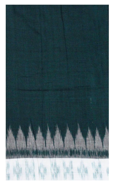 IKKAT Handloom Cotton Blouse material with a popular Temple border  - Green & White (55011A), Blouse - Swadeshi Boutique