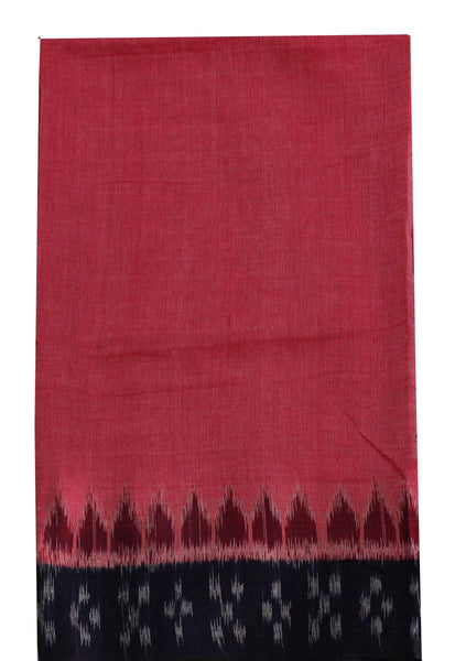 IKKAT Handloom Cotton Blouse material with a popular Temple border - Dark Pink & Black (55012A)