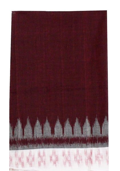 IKAT Handloom Cotton Blouse material with a popular temple border -  Maroon & White (55013B) (No GST Sale), Blouse - Swadeshi Boutique