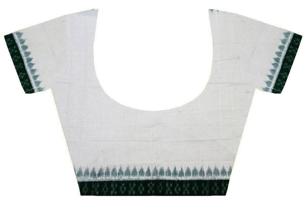 IKKAT Blouse material - Handloom Cotton with a popular Temple border - White & Green (55016E), Blouse - Swadeshi Boutique