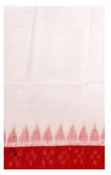 IKKAT Handloom Cotton Blouse material with a popular Temple border - White & Red (55016F), Blouse - Swadeshi Boutique
