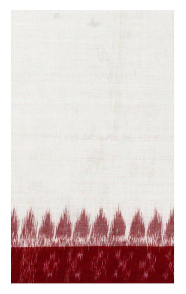 * Sale * IKKAT Handloom Cotton Blouse material with a popular Temple border - Cream & Maroon (55016G)