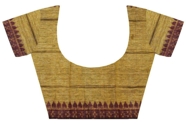 IKAT Blouse material - Handloom Cotton with a popular Temple border-  (55017B) - Swadeshi Boutique
