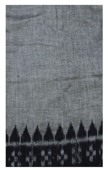 IKKAT Handloom Cotton Blouse material with a popular Temple border-  Ash&Black  (55019A)