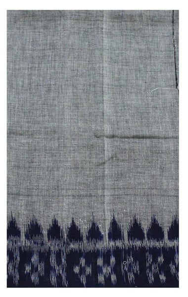 IKKAT Handloom Cotton Blouse material with a popular Temple border-  Ash & Blue (55021A)