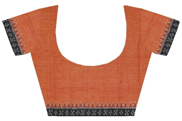 IKAT Blouse material - Handloom Cotton with a popular Temple border-Dark Mustard  (55022A), Blouse - Swadeshi Boutique