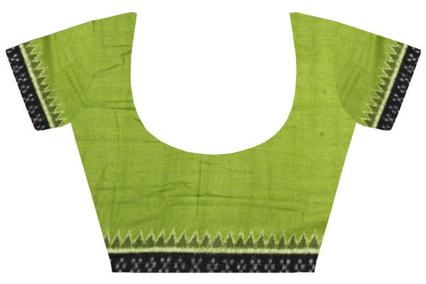 IKAT Handloom Cotton Blouse material with a popular Temple border-Green  (55022B), Blouse - Swadeshi Boutique