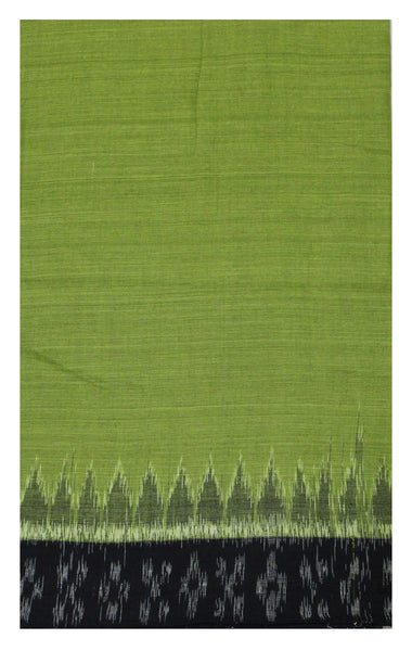 IKAT Handloom Cotton Blouse material with a popular Temple border-Green  (55022B)