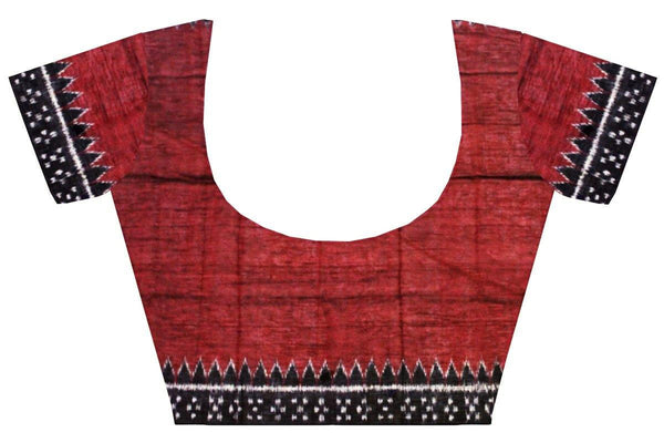 IKKAT Blouse material - Handloom Cotton with a popular Temple border - Maroon & Black (55034C), Blouse - Swadeshi Boutique