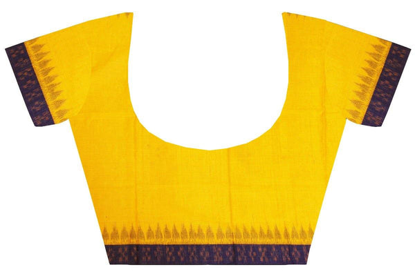 Ikkat Blouse material - Handloom Cottn with temple border -  Yellow (55030A), Blouse - Swadeshi Boutique