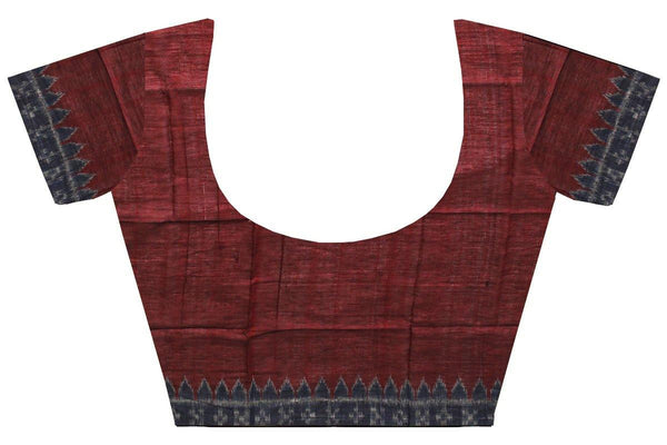 Ikkat Blouse material - Handloom Cotton[popupar] with a Temple border -  Maroon & Blue (55034B), Blouse - Swadeshi Boutique