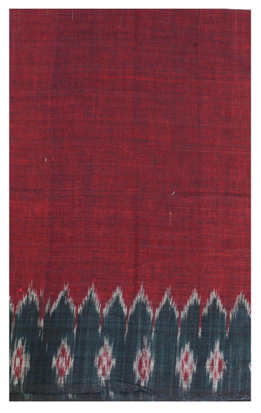 Plain Ikkat Cotton handloom Blouse material with temple border- Maroon & Green  (55034A)