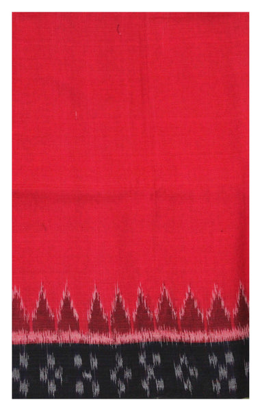 IKAT Handloom Cotton Blouse material [popupar] with a Temple border -  Red & Black (55036A), Blouse - Swadeshi Boutique