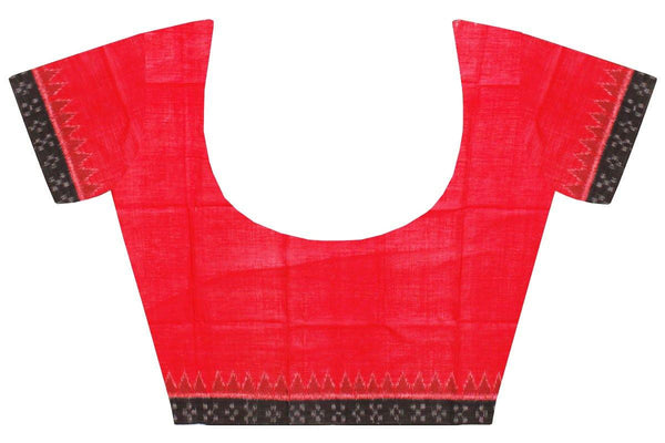 Ikkat Blouse material - Handloom Cotton [popupar] with a Temple border -  Red & Black (55036A), Blouse - Swadeshi Boutique