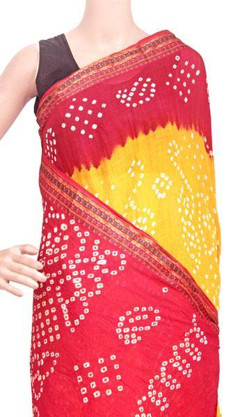 Bandhani cotton saree with Yellow and Red - 58002A, Sarees - Swadeshi Boutique