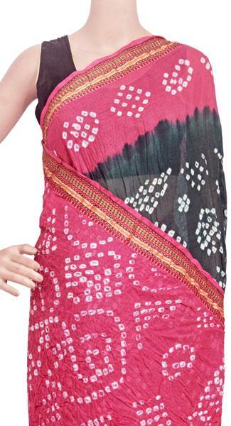 Bandhani cotton saree with Black and Dark pink - 58003A