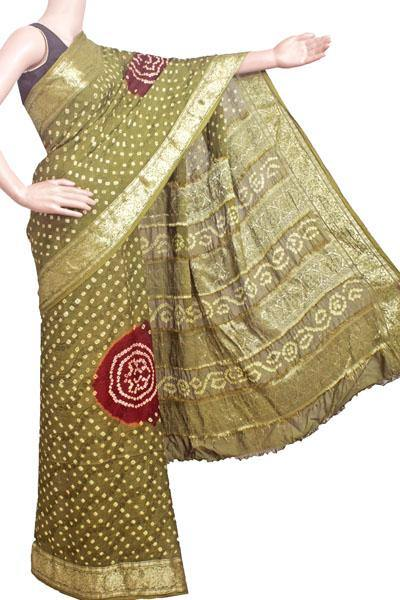 Bandhani art Silk saree with vibrant pallu (Green) - 59002A, Sarees - Swadeshi Boutique