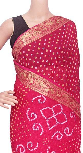 Bandhani art Silk saree with vibrant pallu (Dark pink) - 59003A - Swadeshi Boutique