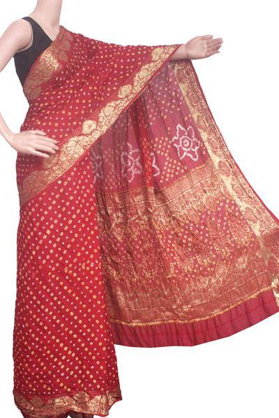 Bandhani art Silk saree with zari pallu (Maroon) - 59004A - Swadeshi Boutique