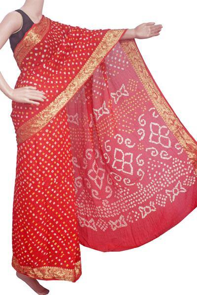 Bandhani art Silk saree with vibrant pallu (Red) - 59006A - Swadeshi Boutique