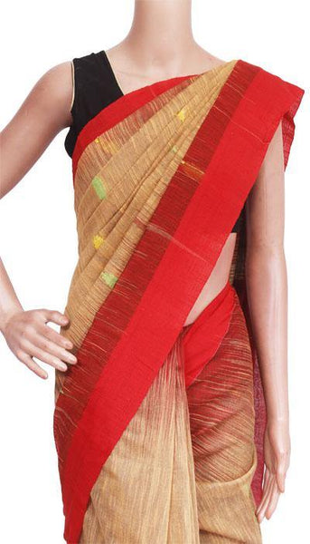 Raw silk saree with buta allover body - 61017A