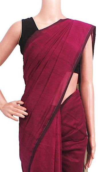 Silk Cotton plain saree with vibrant color combination - 61022A (**Intro Offer Rs.100 OFF), Sarees - Swadeshi Boutique