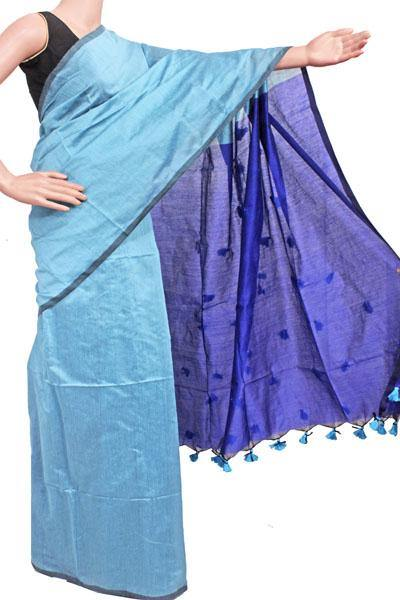 Silk Cotton plain saree with vibrant color combination and pompom lace in pallu- 61025A, Sarees - Swadeshi Boutique