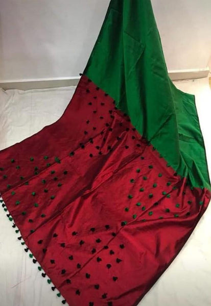 Silk Cotton plain saree with vibrant color combination and pompom lace in pallu- 61028A, Sarees - Swadeshi Boutique