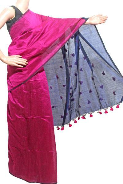 Silk Cotton plain saree with vibrant color combination and pompom lace in pallu- 61031A, Sarees - Swadeshi Boutique
