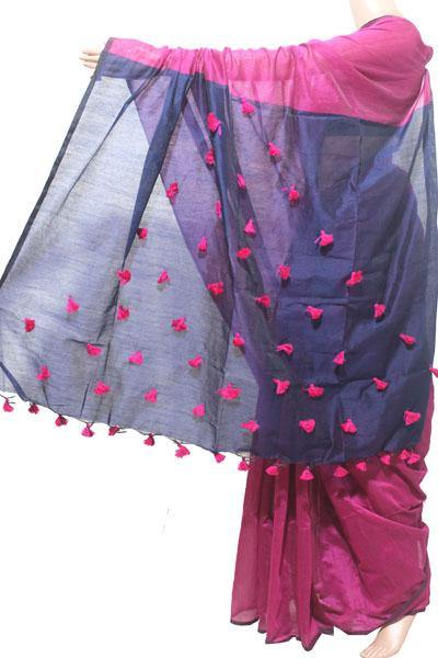 Silk Cotton plain saree with vibrant color combination and pompom lace in pallu- 61031A