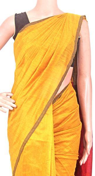 Silk Cotton plain saree with vibrant color combination and pompom lace in pallu- 61033A