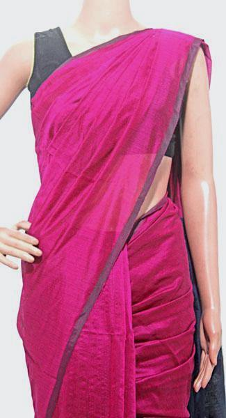 Silk Cotton plain saree with vibrant color combination and pompom lace in pallu- 61034A